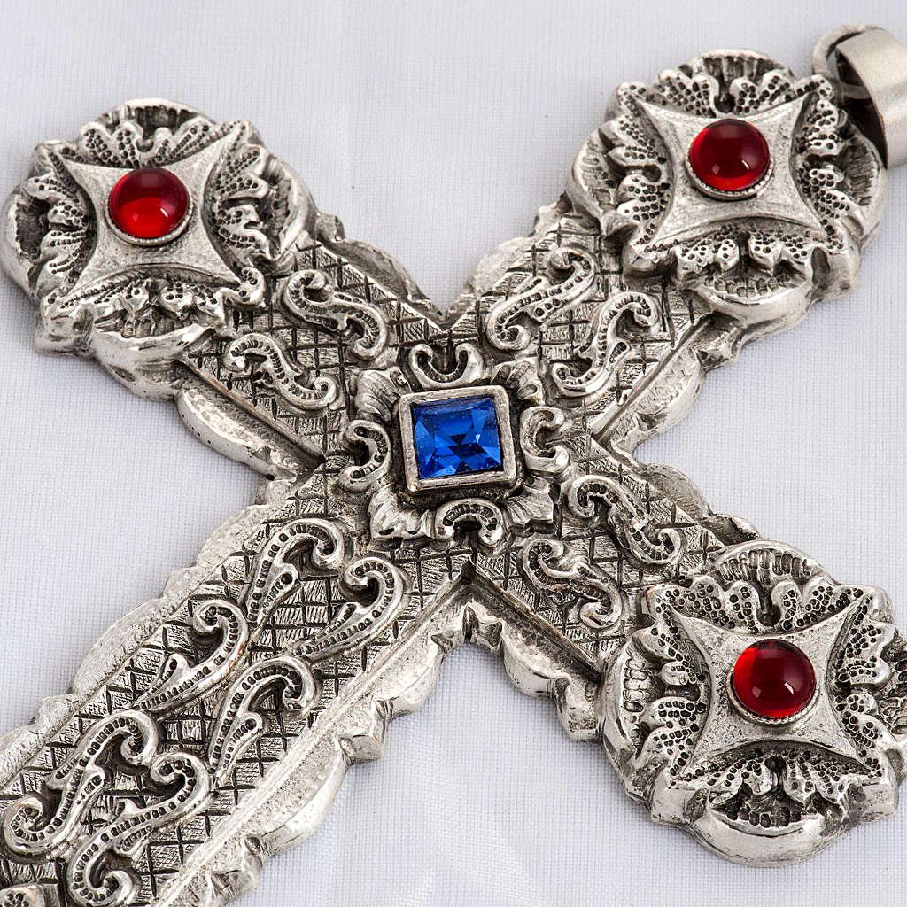 Croce pettorale stile barocco rame argentato cesellato pietre 3