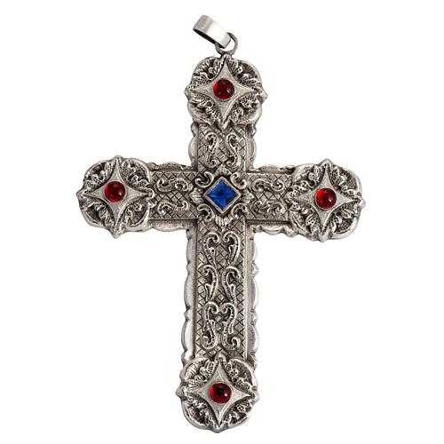 Croce pettorale stile barocco rame argentato cesellato pietre 1