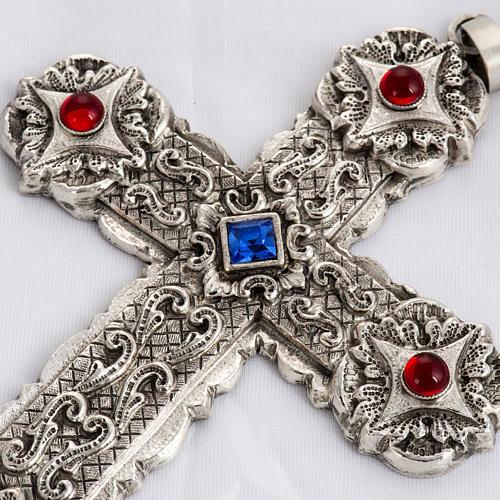 Croce pettorale stile barocco rame argentato cesellato pietre 2