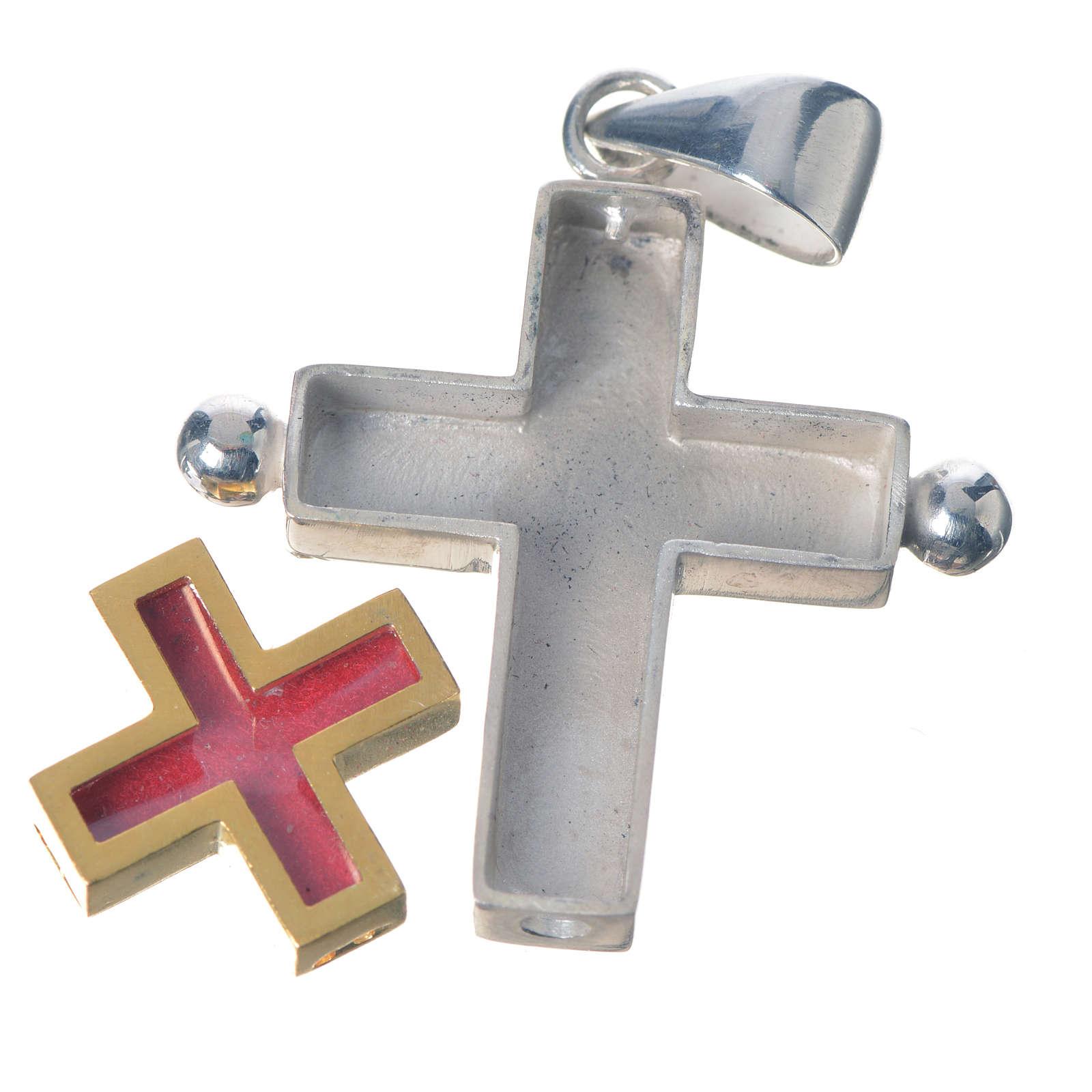 Croce pendente argento 800 con portareliquie 4