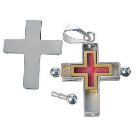 Croce pendente argento 800 con portareliquie s3
