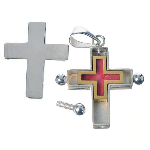Croce pendente argento 800 con portareliquie 3