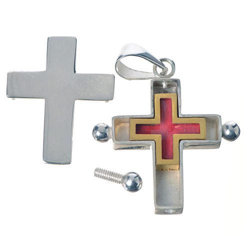 Pendant cross in 925 silver with relic case 3