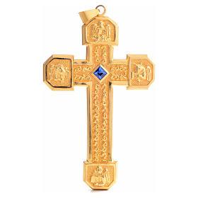 Croce pettorale in rame dorato cesellato pietra blu s1