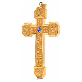 Croce pettorale in rame dorato cesellato pietra blu s2