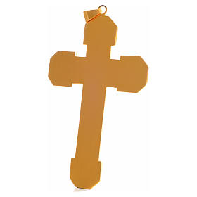 Croce pettorale in rame dorato cesellato pietra blu s3
