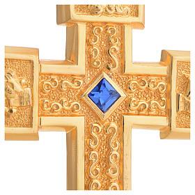 Croce pettorale in rame dorato cesellato pietra blu s4