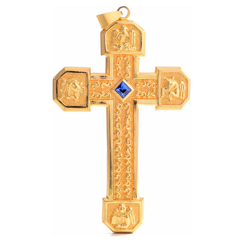 Croce pettorale in rame dorato cesellato pietra blu 1