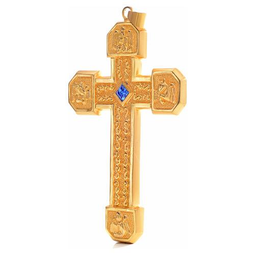 Croce pettorale in rame dorato cesellato pietra blu 2