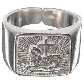 Anillo episcopal cordero plata 925 brillante s7