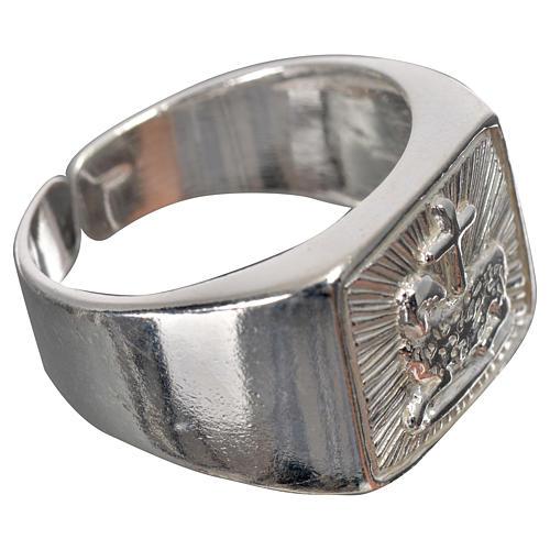 Anillo episcopal cordero plata 925 brillante 8