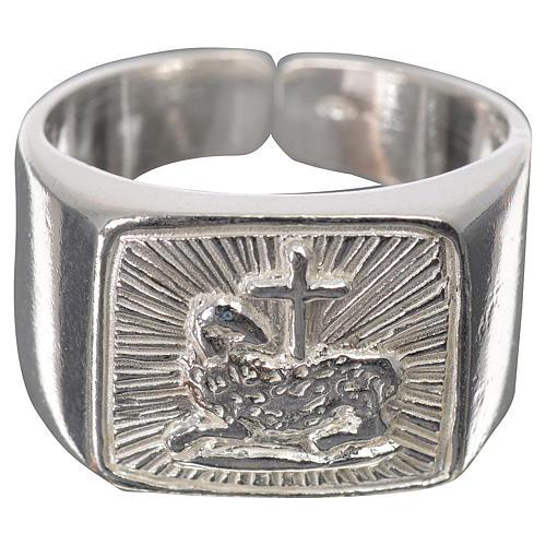 Anillo episcopal cordero plata 925 brillante 1