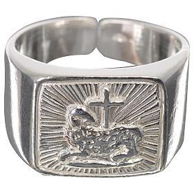 Anello episcopale agnello argento 925 lucido s1