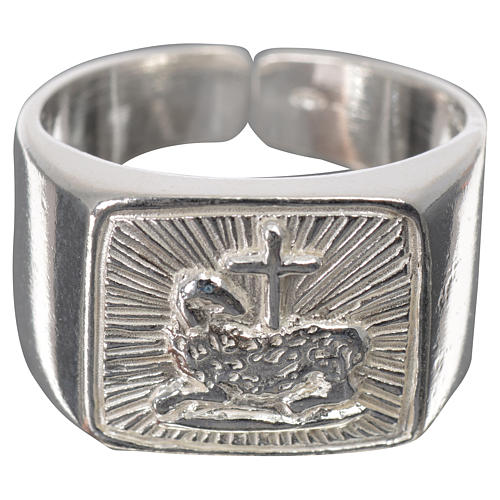 Bishop's ring in 925 silver, polished, with lamb 7