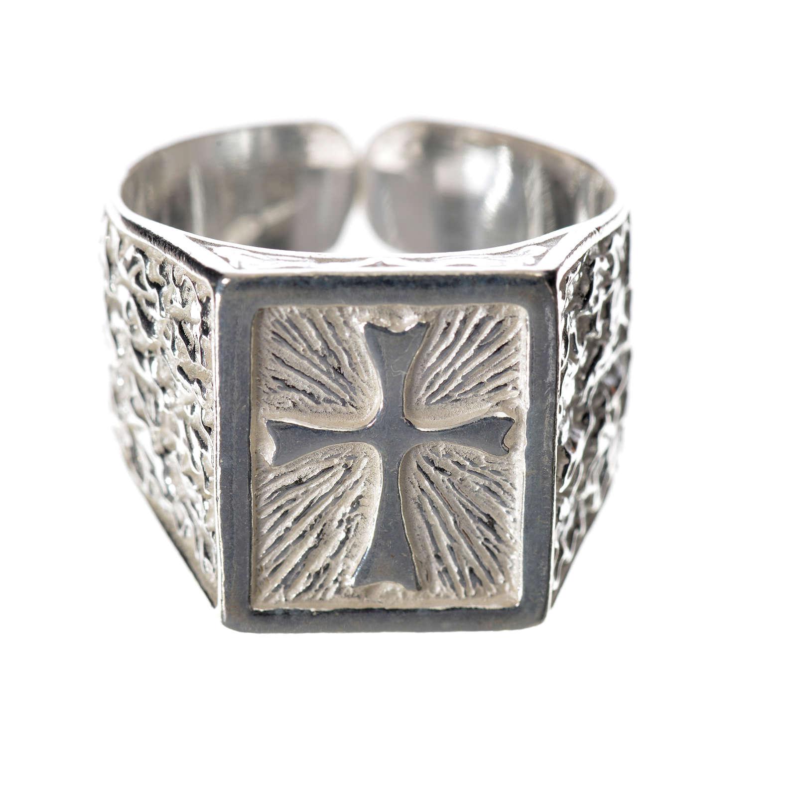 Anillo episcopal con cruz plata 925 3