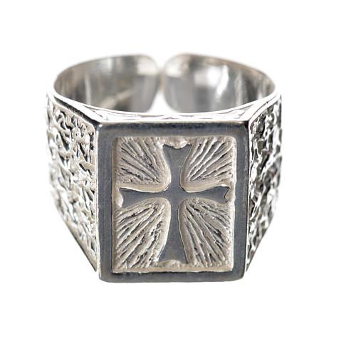 Anillo episcopal con cruz plata 925 1