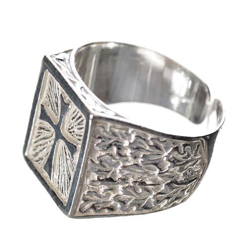 Anello episcopale con croce argento 800 2