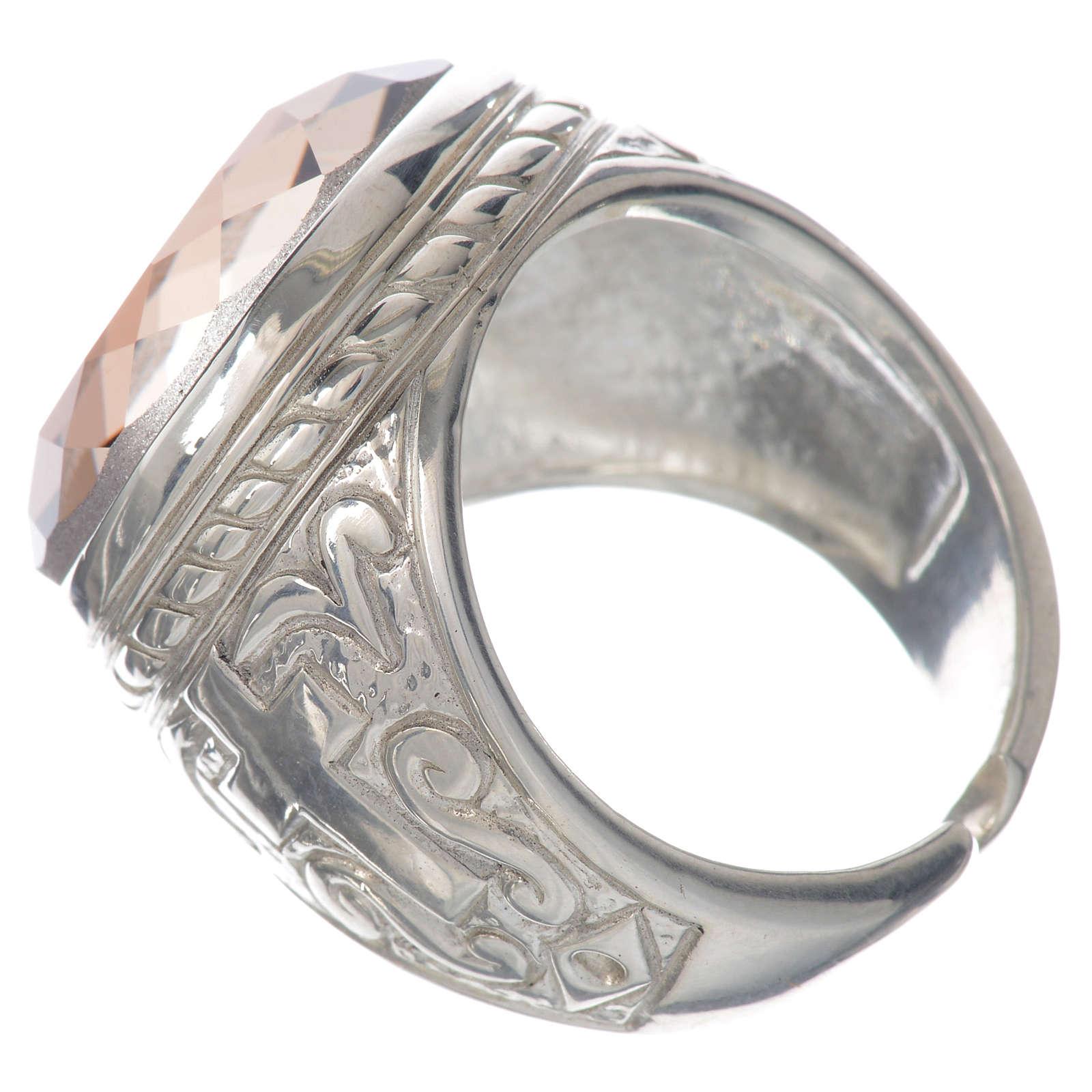 Anello vescovile argento 925 pietra Swarovski color ametista 3
