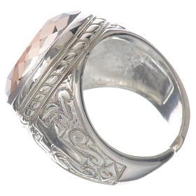 Anello vescovile argento 925 pietra Swarovski color ametista s3