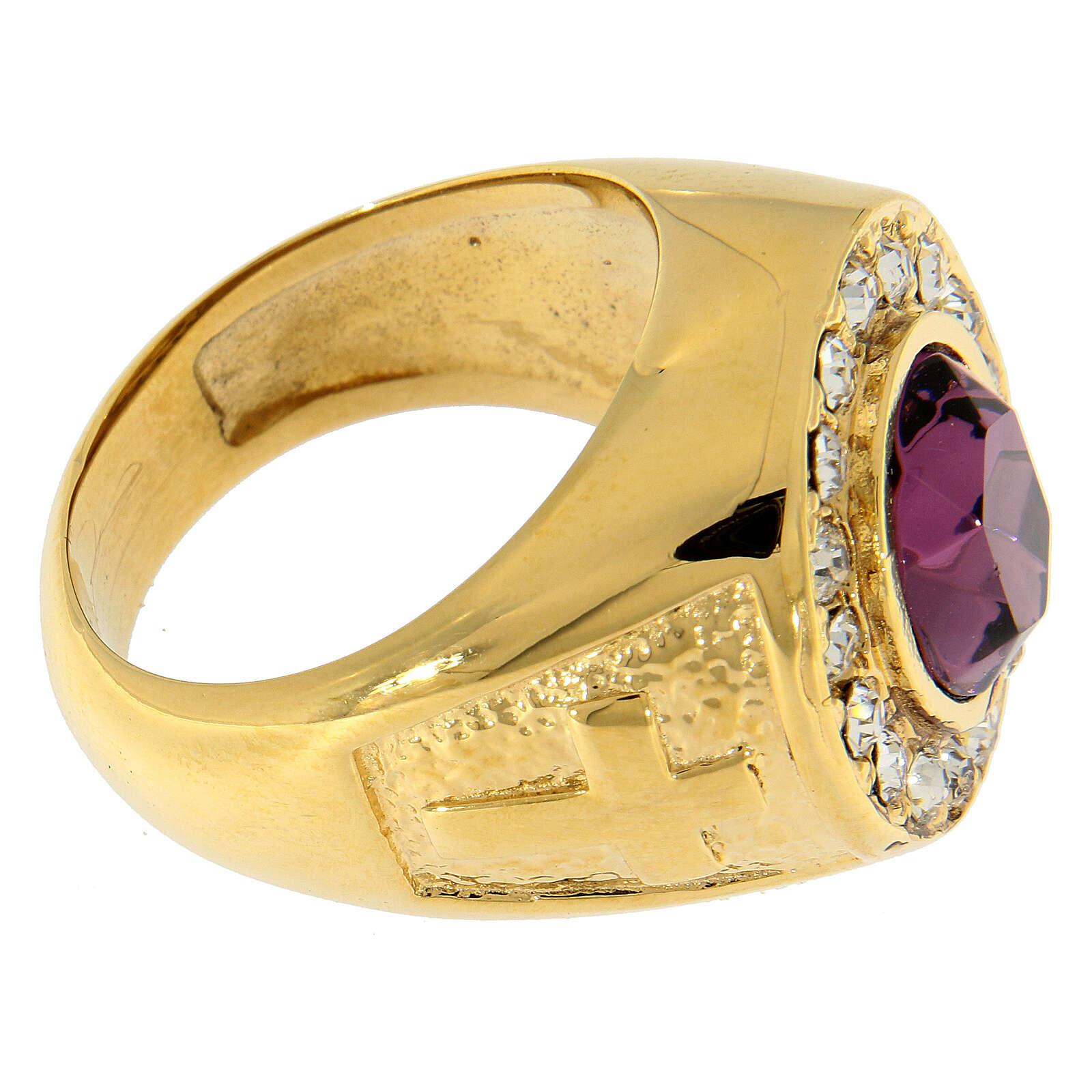 Anello per vescovi argento 925 pietra Swarovski e cristalli 3