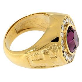 Anello per vescovi argento 925 pietra Swarovski e cristalli s4