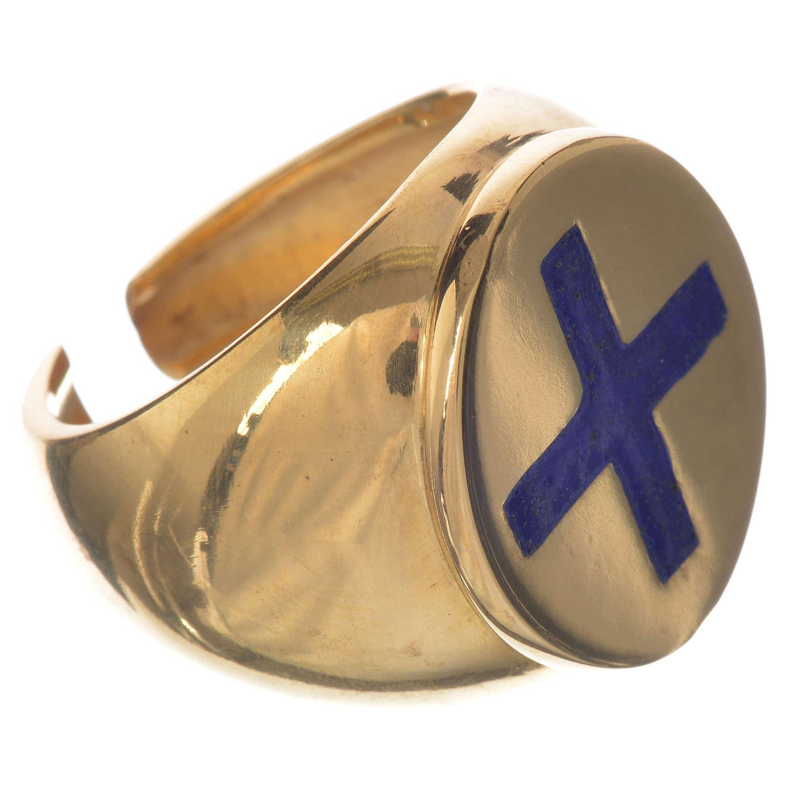 Anello episcopale argento 925 dorato croce smalto blu 3