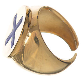 Anello episcopale argento 925 dorato croce smalto blu s3