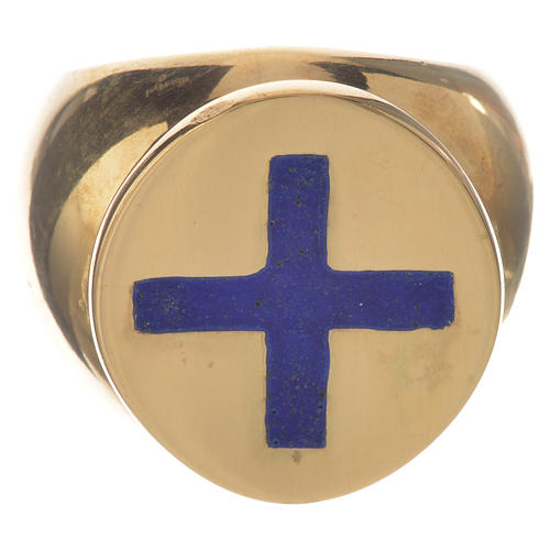 Anello episcopale argento 925 dorato croce smalto blu 1