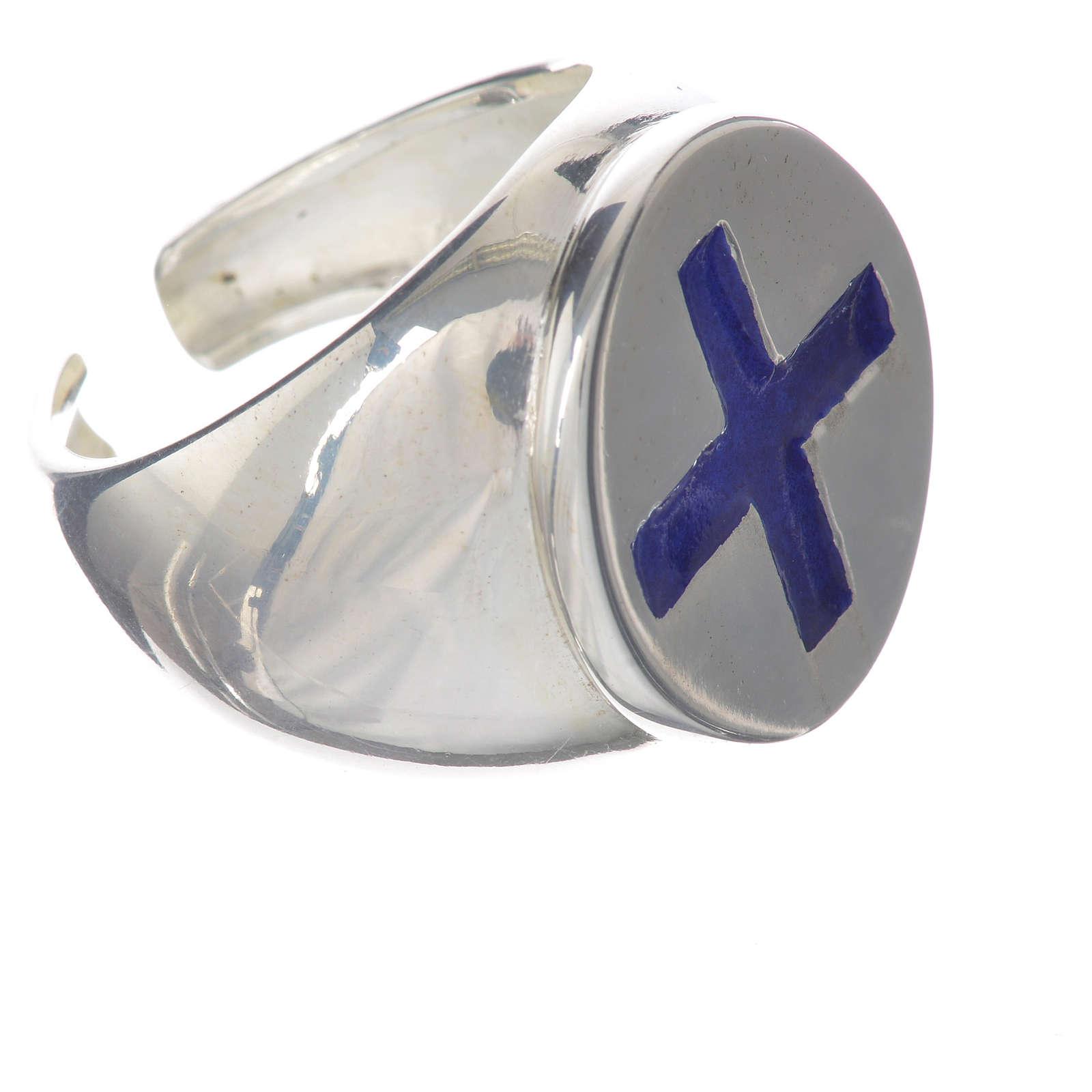 Anello episcopale argento 925 croce smalto blu 3