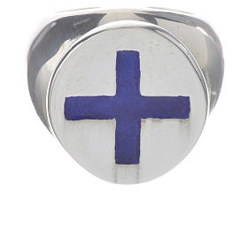 Anello episcopale argento 925 croce smalto blu s1