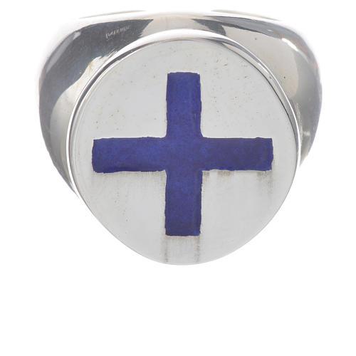 Anello episcopale argento 925 croce smalto blu 1