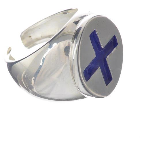Anello episcopale argento 925 croce smalto blu 2