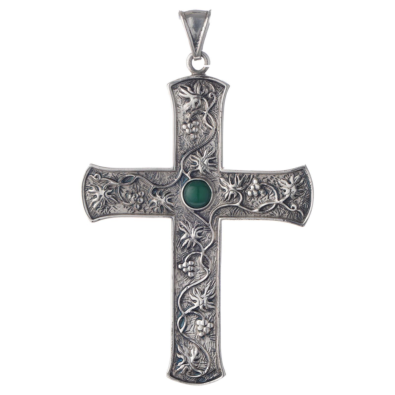Cruz pectoral plata 925 uva y piedra verde 3