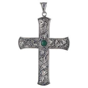 Cruz pectoral plata 925 uva y piedra verde s1