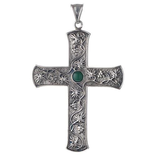 Cruz pectoral plata 925 uva y piedra verde 1