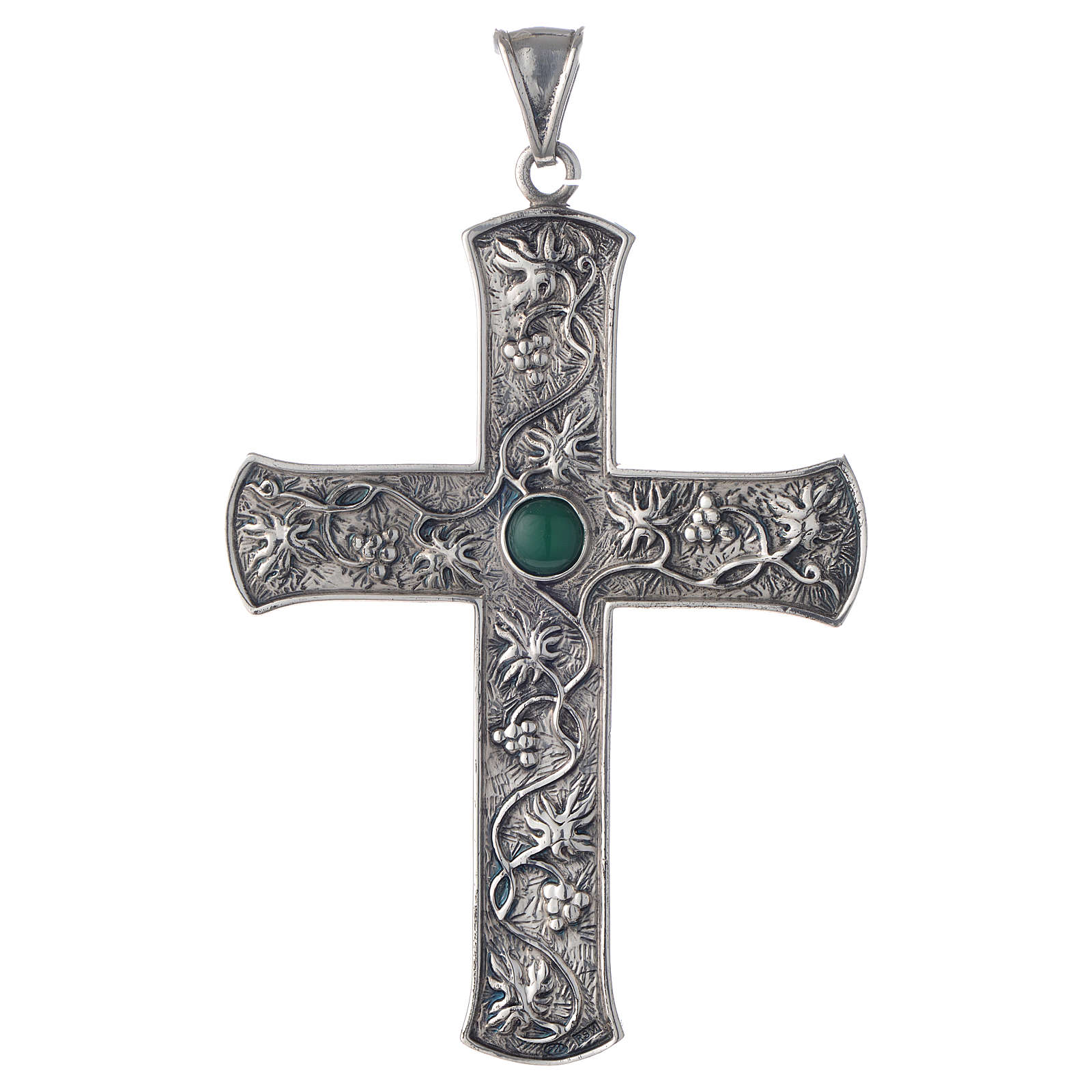 Pectoral cross in silver with green stone, vine branch 3
