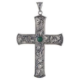 Pectoral cross in silver with green stone, vine branch s1