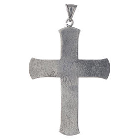 Pectoral cross in silver with green stone, vine branch s2