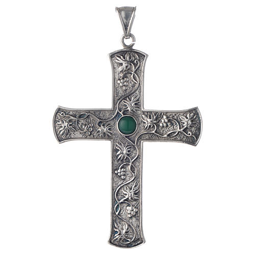 Pectoral cross in silver with green stone, vine branch 1