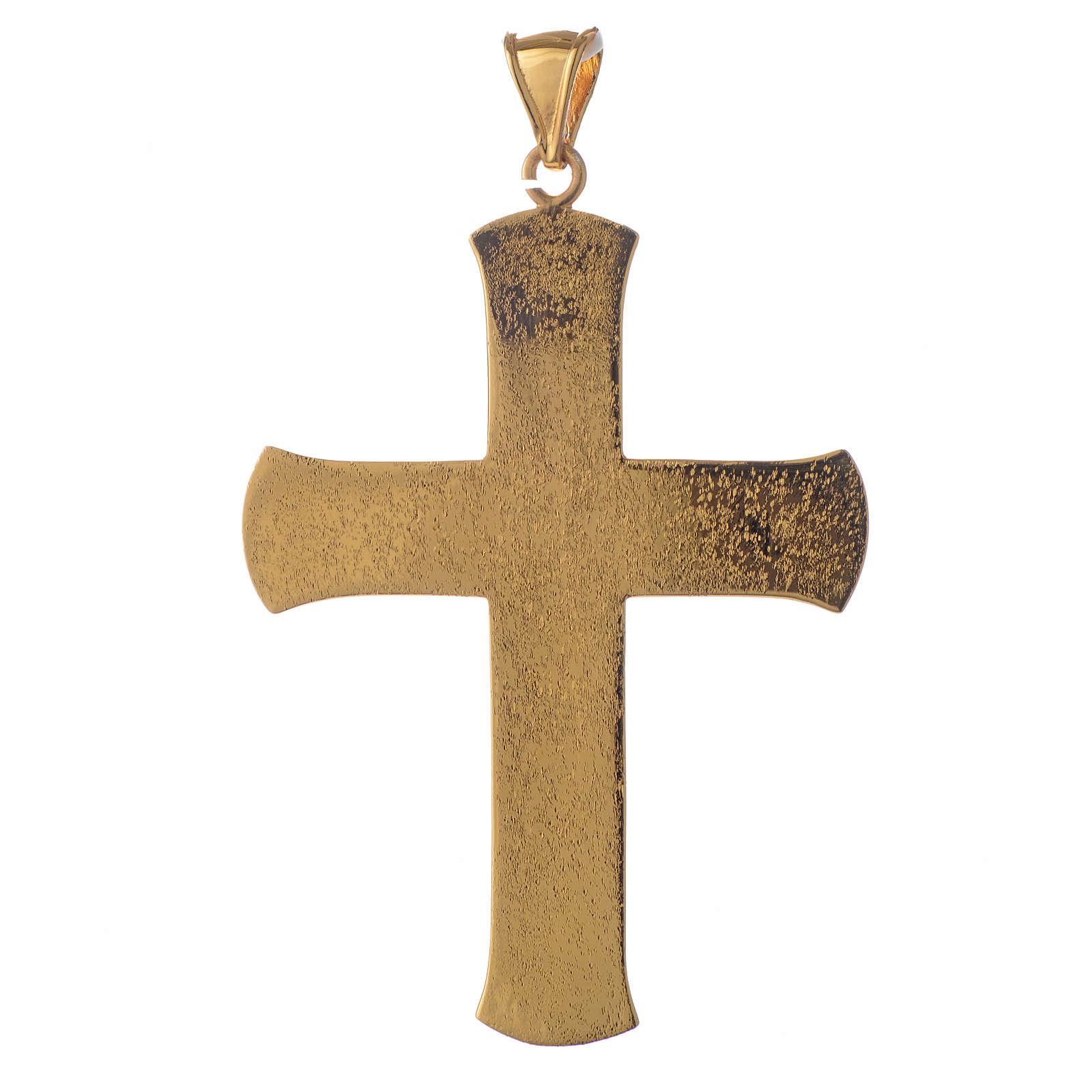 Croce pettorale argento 925 dorato tralci d'uva verde 3