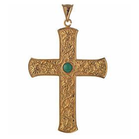 Croce pettorale argento 925 dorato tralci d'uva verde s1