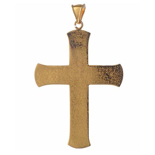 Croce pettorale argento 925 dorato tralci d'uva verde 2