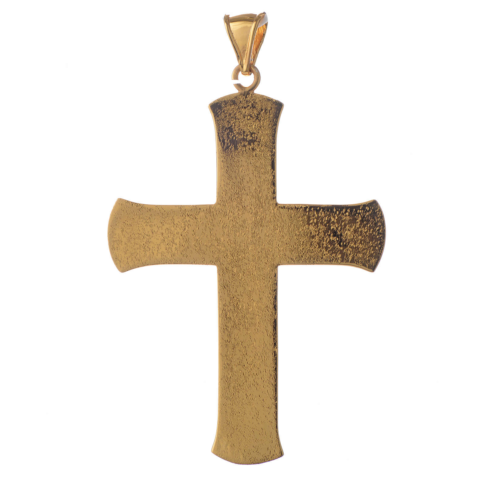 Pectoral cross in gold-plated sterling silver with green vine branch 3
