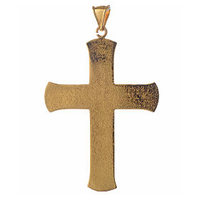 Pectoral cross in gold-plated sterling silver with green vine branch s2