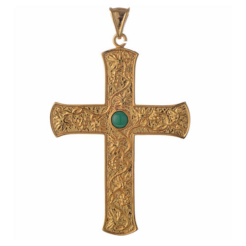 Pectoral cross in gold-plated sterling silver with green vine branch 1