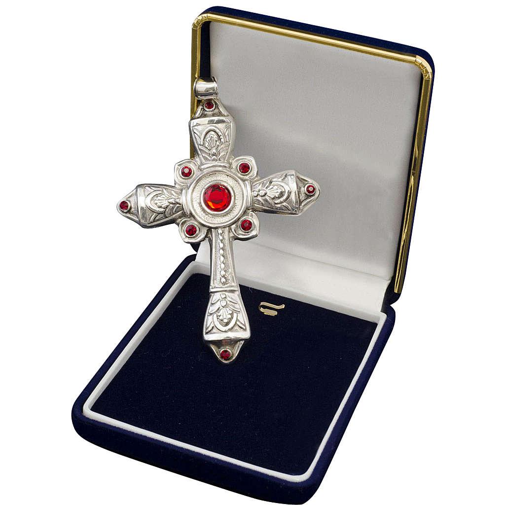 Croce vescovile argento 925 cristalli Swarovski rossi 3
