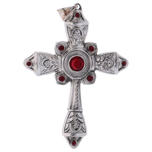 Croce vescovile argento 925 cristalli Swarovski rossi 1