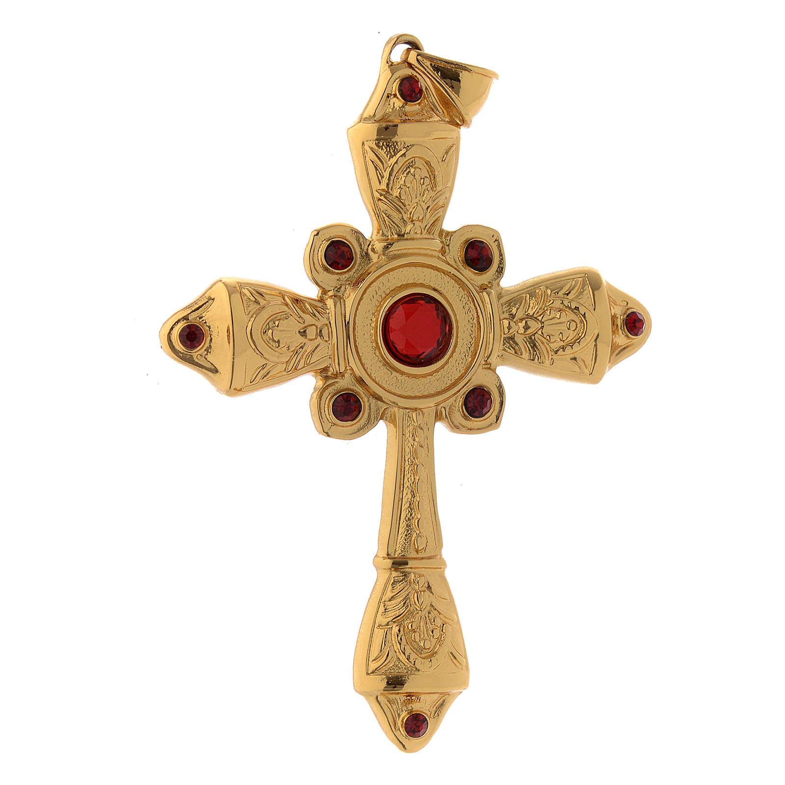 Cruz pectoral plata 925 dorada cristales Swarovski rojos 3