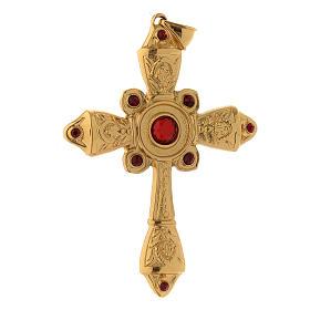 Cruz pectoral plata 925 dorada cristales Swarovski rojos s2