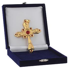 Croce vescovile argento 925 dorato cristalli Swarovski rossi s4